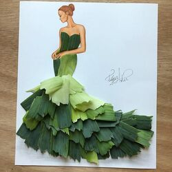 Пазл онлайн: Платье сделанно из лука-порея