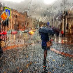 Пазл онлайн: Осенний дождь на Невском проспекте