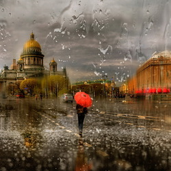 Пазл онлайн: Осенний дождь в Санкт-Петербурге