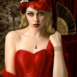 Пазл онлайн: Женщина в красном