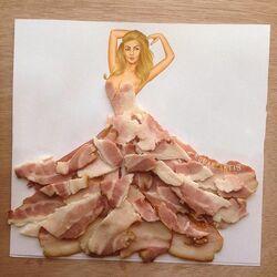 Пазл онлайн: Платье из бекона