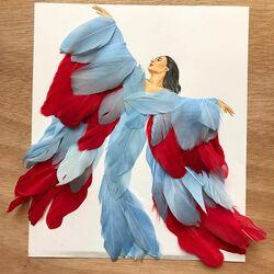 Пазл онлайн: Платье из перьев