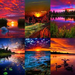 Пазл онлайн: Красочные закаты