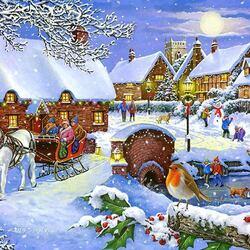 Пазл онлайн: Праздничная зима