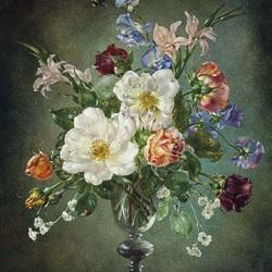 Пазл онлайн: Букет с белыми розами