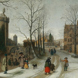 Пазл онлайн: Зимний пейзаж с фигуристами за стенами города