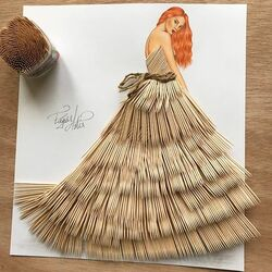 Пазл онлайн: Платье из зубочисток