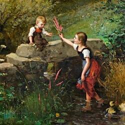 Пазл онлайн: Дети и цветы