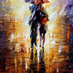 Пазл онлайн: Двое под зонтом.
