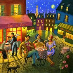 Пазл онлайн: Вечер в кафе