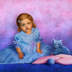 Пазл онлайн: Девочка с котиком