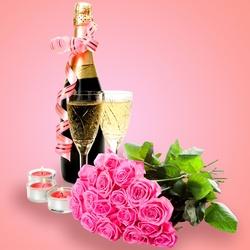 Пазл онлайн: Шампанское и розы