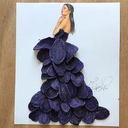 Пазл онлайн: Платье с синими картофельными чипсами.