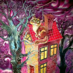 Пазл онлайн: Кот на крыше