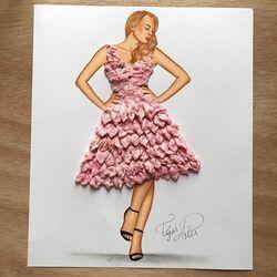 Пазл онлайн:  Платье из жевательной резинки.