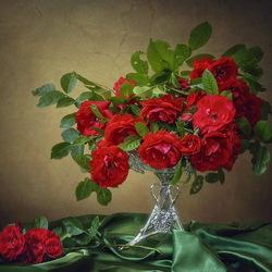 Пазл онлайн: Красное на зеленом