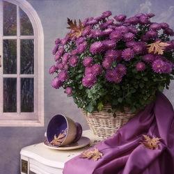 Пазл онлайн: С осенними хризантемами
