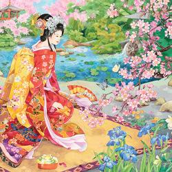Пазл онлайн: Сад цветущей сакуры