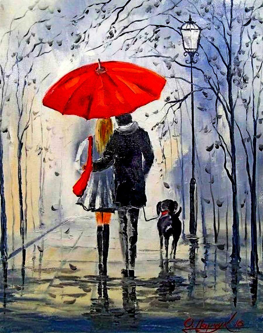 следующем рисунки под дождем для