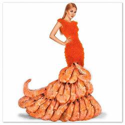 Пазл онлайн: Платье из красной икры и креветок