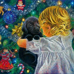 Пазл онлайн: Щенок на Рождество