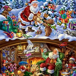 Пазл онлайн: Санта в работе