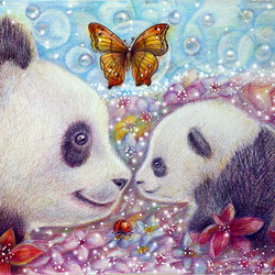 Пазл онлайн: Панда и детеныш