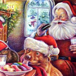 Пазл онлайн: Санта