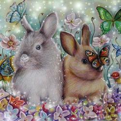Пазл онлайн: Зайчата