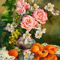 Пазл онлайн: Розы и абрикосы