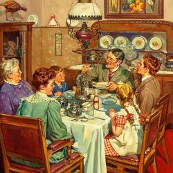 Пазл онлайн: Семейный обед