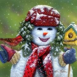 Пазл онлайн: Снежная баба