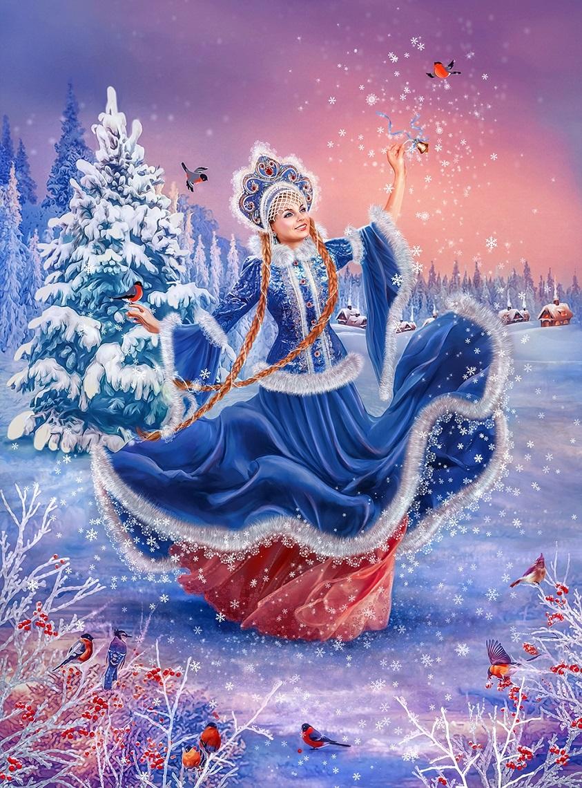 Новогодняя открытка снегурочка