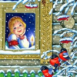 Пазл онлайн: Зима за окошком