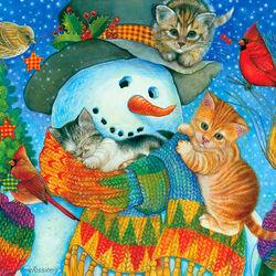 Пазл онлайн: Уютный снеговик