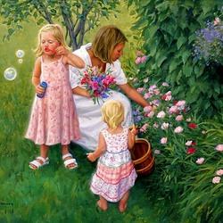 Пазл онлайн: Мама с дочками