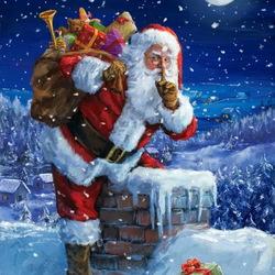 Пазл онлайн: Санта Клаус за работой