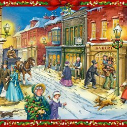 Пазл онлайн: Рождественский мир Чарльза Диккенса