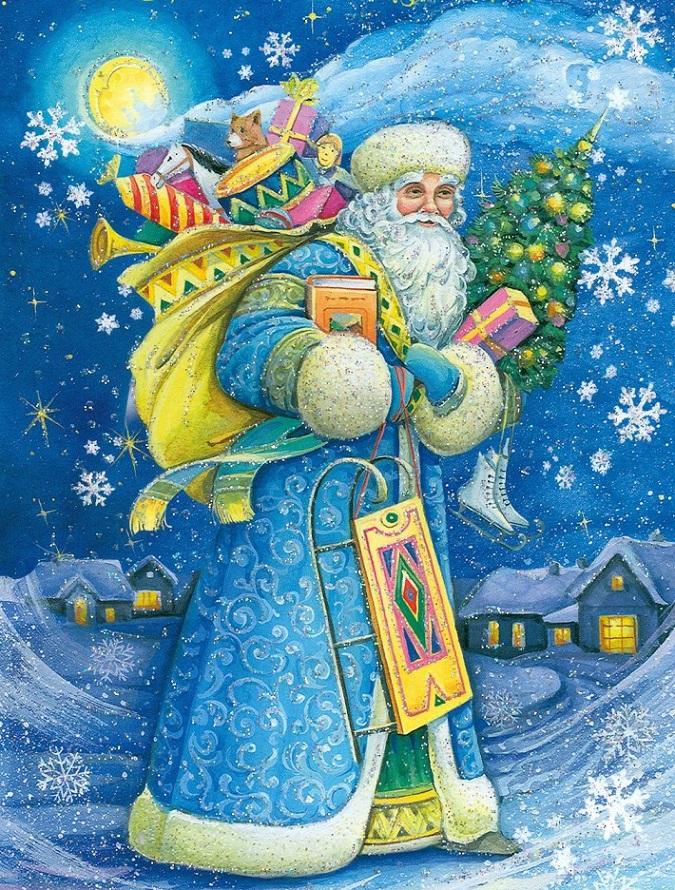 Дедушка мороз на открытке