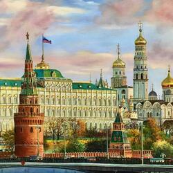 Пазл онлайн: Стены древнего Кремля