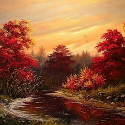 Пазл онлайн: Уплывают красные листья