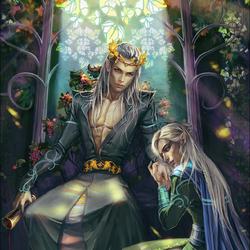 Пазл онлайн: Трандуил и его сын Леголас