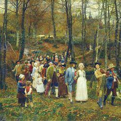 Пазл онлайн: Свадебное шествие