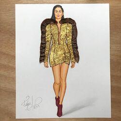 Пазл онлайн: Платье сделанное из оберток Ferrero Rocher