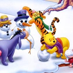 Пазл онлайн: Зима у Винни-Пуха и его друзей