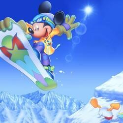 Пазл онлайн: Микки сноубордист