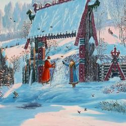 Пазл онлайн: Дед Мороз и Снегурочка у источника Ледич