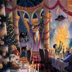 Пазл онлайн: Рождество в большом зале Хогвартса