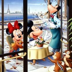 Пазл онлайн: Микки и Минни Маус в Париже