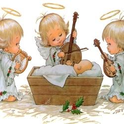 Пазл онлайн: Ангелы у колыбели